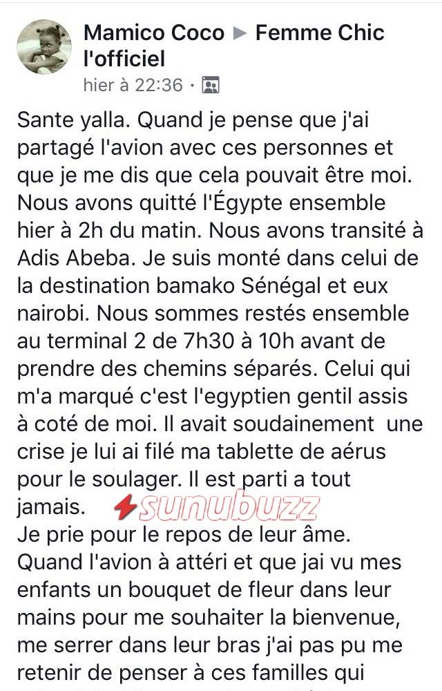 1 (URGENT) Ethiopian Airlines : La Sénégalaise enregistrée à bord de l'avion brise le silence et raconte