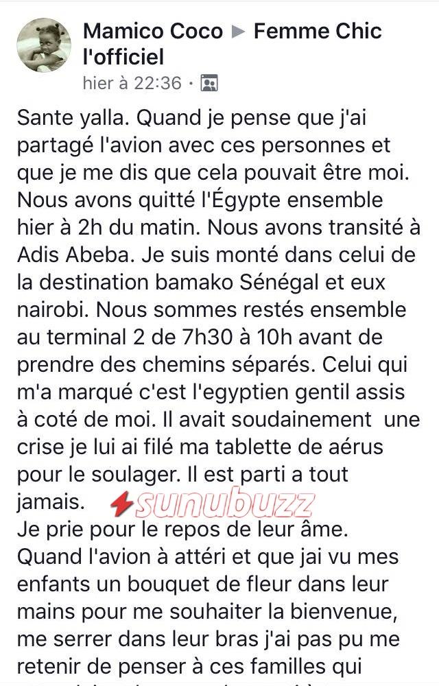 2 (URGENT) Ethiopian Airlines : La Sénégalaise enregistrée à bord de l'avion brise le silence et raconte